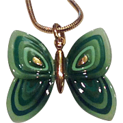 Eisenberg Enamel Butterfly Pendant Necklace Shades of Green Gold Tone