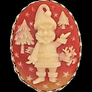 Vintage Christmas Cameo Pin Brooch Santa Claus, Reindeer, Trees