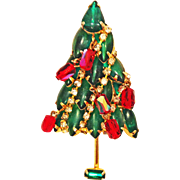 Vintage Christmas Tree Pin Brooch Rhinestone Cabochon Crystal Dangles & Chain Garland