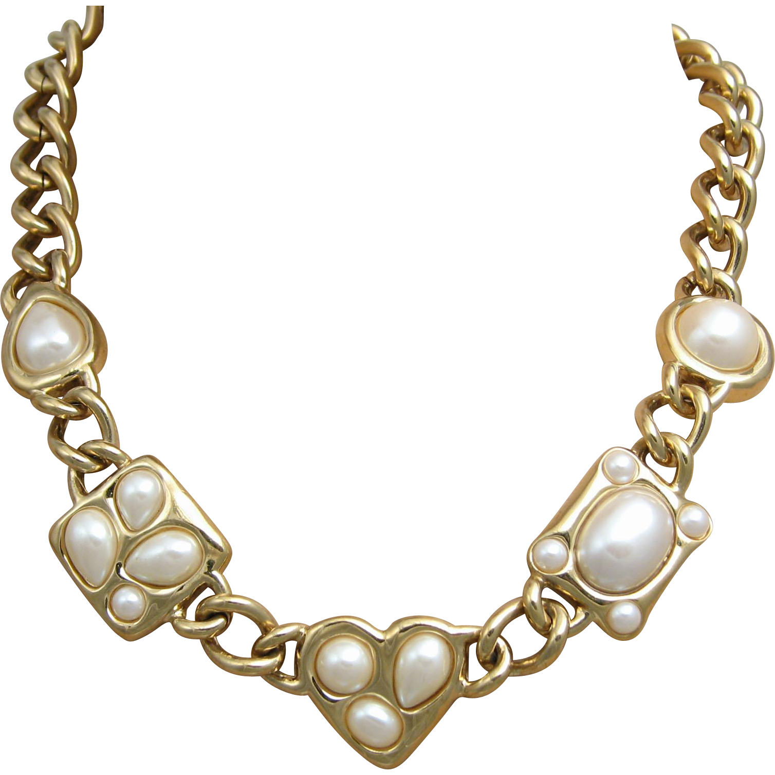 Givenchy French Designer Simulated Pearl Gold Tone Chain Statement Necklace