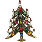 Pakula Signed Christmas Tree Pin Multicolor Rhinestones Gold Tone