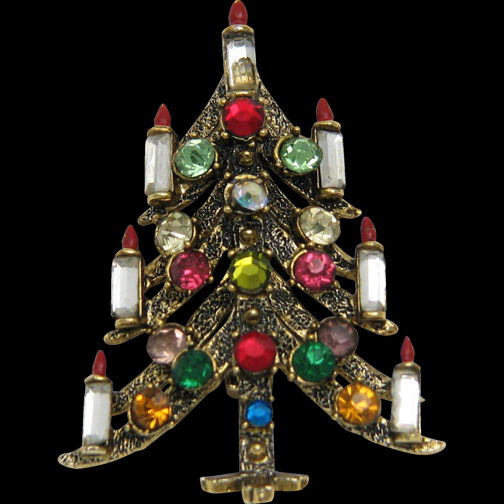 Pakula Signed Christmas Tree Pin Multicolor Rhinestones Gold Tone
