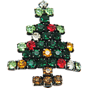 Christmas Tree Pin / Brooch Vintage Book Piece! Multicolor Rhinestones Silver Tone