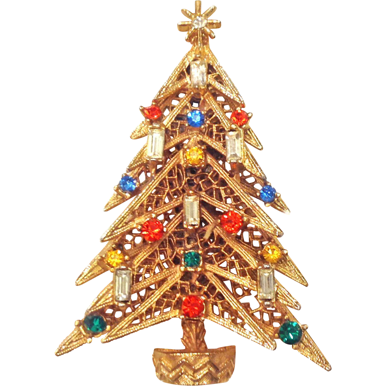 Vintage Art Christmas Candle Tree Pin Brooch Multicolor