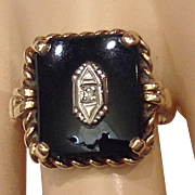 Art Deco Unisex Ring 10K Yellow Gold Onyx Diamond Vintage Size 8.25