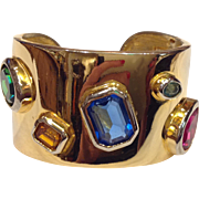 Maresco Wide Hinged Cuff Statement Bracelet Multi Color Rhinestones Gold Tone