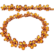 "Trifari ""Poured Glass"" Golden Topaz Color Flower Necklace"