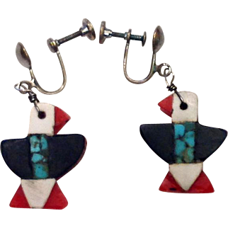 Native American 1930s Depression Era Plastic Turquoise Thunderbird Earrings