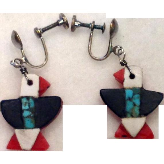 Native American 1930s Depression Era Plastic Turquoise Thunderbird Earrings