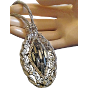 Juliana / De Lizza & Elster Hematite Color Rhinestone Silver Tone Long Pendant Necklace