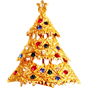 Eisenberg Ice Christmas Tree Pin Brooch Rhinestone Gold Tone