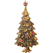 B.J. Christmas Tree Pin Brooch Multicolor Rhinestones Gold Tone Signed