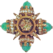 Maltese Cross and Simulated Jade Art Glass Rhinestone Brooch Pin