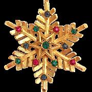 Trifari Christmas Snowflake Pin Brooch Multicolor Jewel-toned Rhinestones