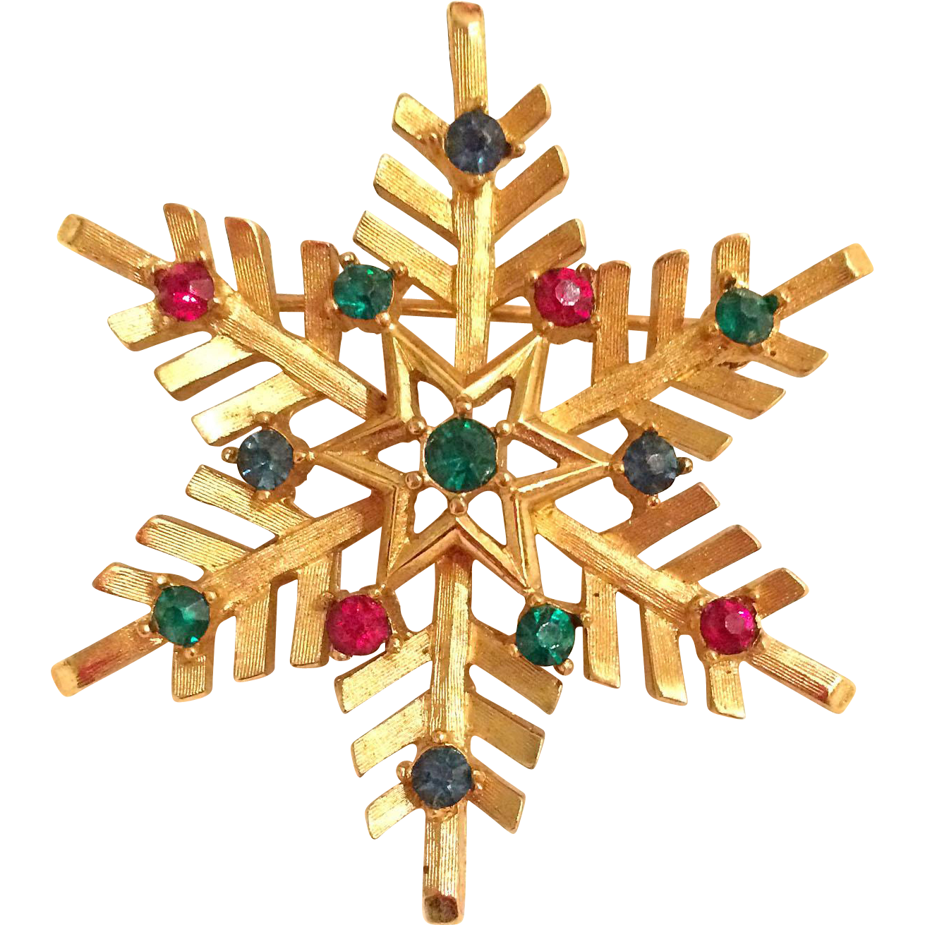 Trifari Christmas Snowflake Pin Brooch Multicolor Jewel-toned Rhinestones