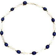 Art Deco Sterling Silver Deep Blue Lapis Glass Necklace Choker