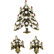 Pakula Christmas Candle Tree Pin Brooch Clip Earrings Set Vintage Clear Rhinestones Gold Tone