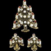 Pakula Christmas Candle Tree Pin Brooch Clip Earrings Set Vintage Clear Rhinestones Gold Tone