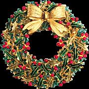 Weiss Christmas Wreath Pin Brooch - Book Piece!