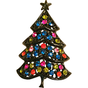 H in Heart Signed Black Multi Color Rhinestone Christmas Tree Pin Brooch