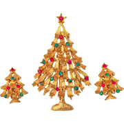 Weiss Rhinestone Christmas Tree Pin Brooch Earrings Set Gold Tone