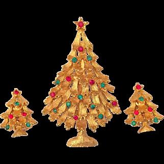 Weiss Rhinestone Christmas Tree Pin Brooch Earrings Set Gold Tone