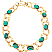 Designer Runway Vintage Emerald Green Cabochon Necklace High Karat Gold Tone Chain Link Necklace
