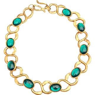Designer Runway Vintage Emerald Green Cabochon Necklace High Karat Gold Tone Chain Link Necklace