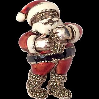 Judith Jack Christmas Santa Marcasite Sterling Enamel Pin Brooch