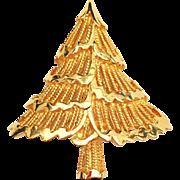 Vintage Corel Signed Christmas Tree Pin Brooch - Book Piece!