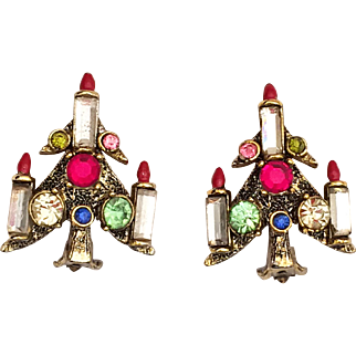 Pakula Christmas Candle Tree Rhinestone Clip Earrings