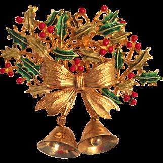 Weiss Christmas Bells Enamel Gold Tone Pin Brooch Book Piece