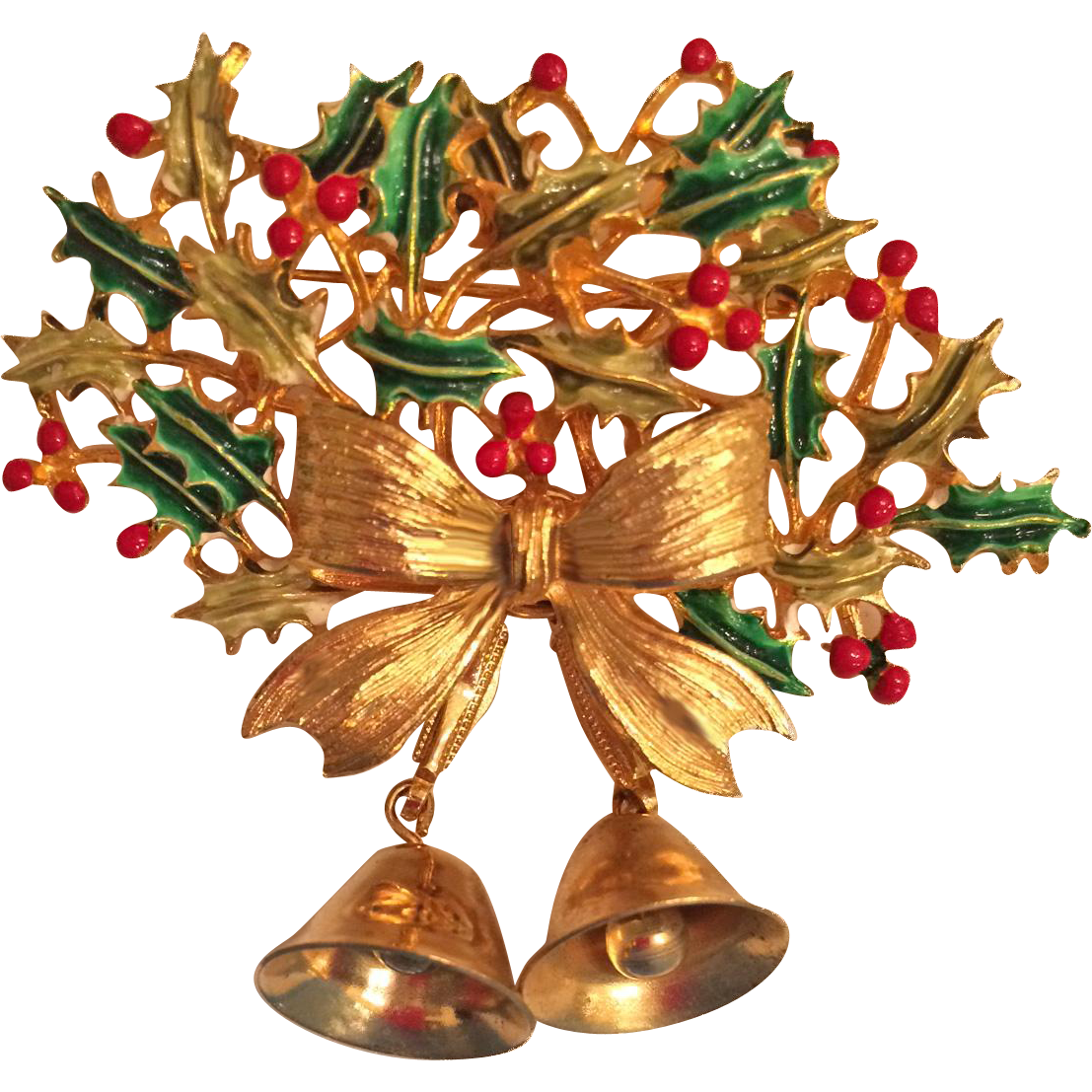 Weiss Christmas Bells Enamel Gold Tone Pin Brooch Book Piece