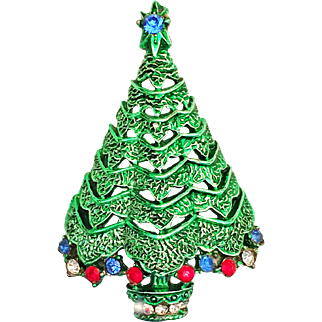 Corel Division of Coro Rhinestone Christmas Tree Pin Brooch Signed Book Piece!
