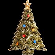 "Art Signed Rhinestone Christmas Tree Pin Brooch ""Amoeba"" Tree Fully Enameled"