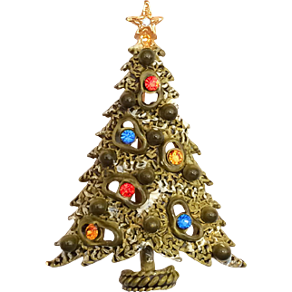 "Art Signed Rhinestone Christmas Tree Pin Brooch ""Amoeba"" Tree Fully Enameled"