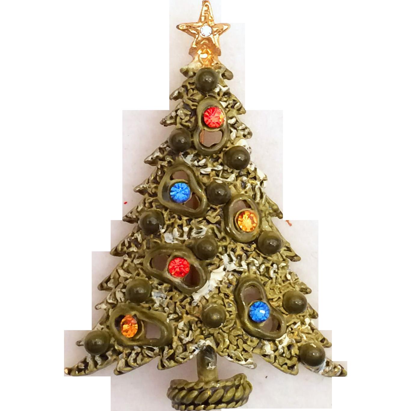 "Art Signed Rhinestone Christmas Tree Pin Brooch ""Amoeba"