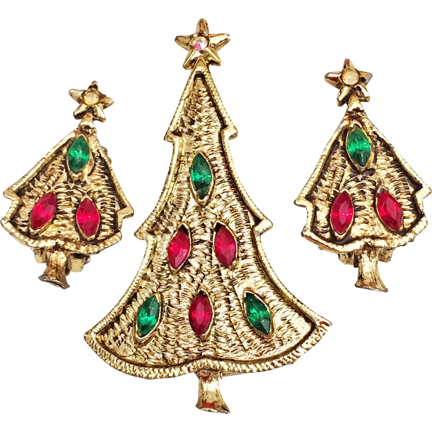 Rhinestone Christmas Tree Pin Brooch Clip Earrings Red Green Gold Tone