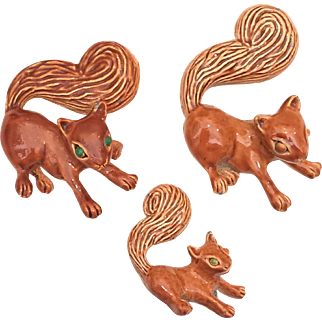 Gerry's Enamel Squirrel Family Pin Brooch Set of Three Pins