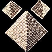 Rhinestone Pyramid Pin Brooch / Pendant Clip Earrings Set