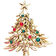 Rare Tancer II Signed Rhinestone Christmas Tree Pin Brooch