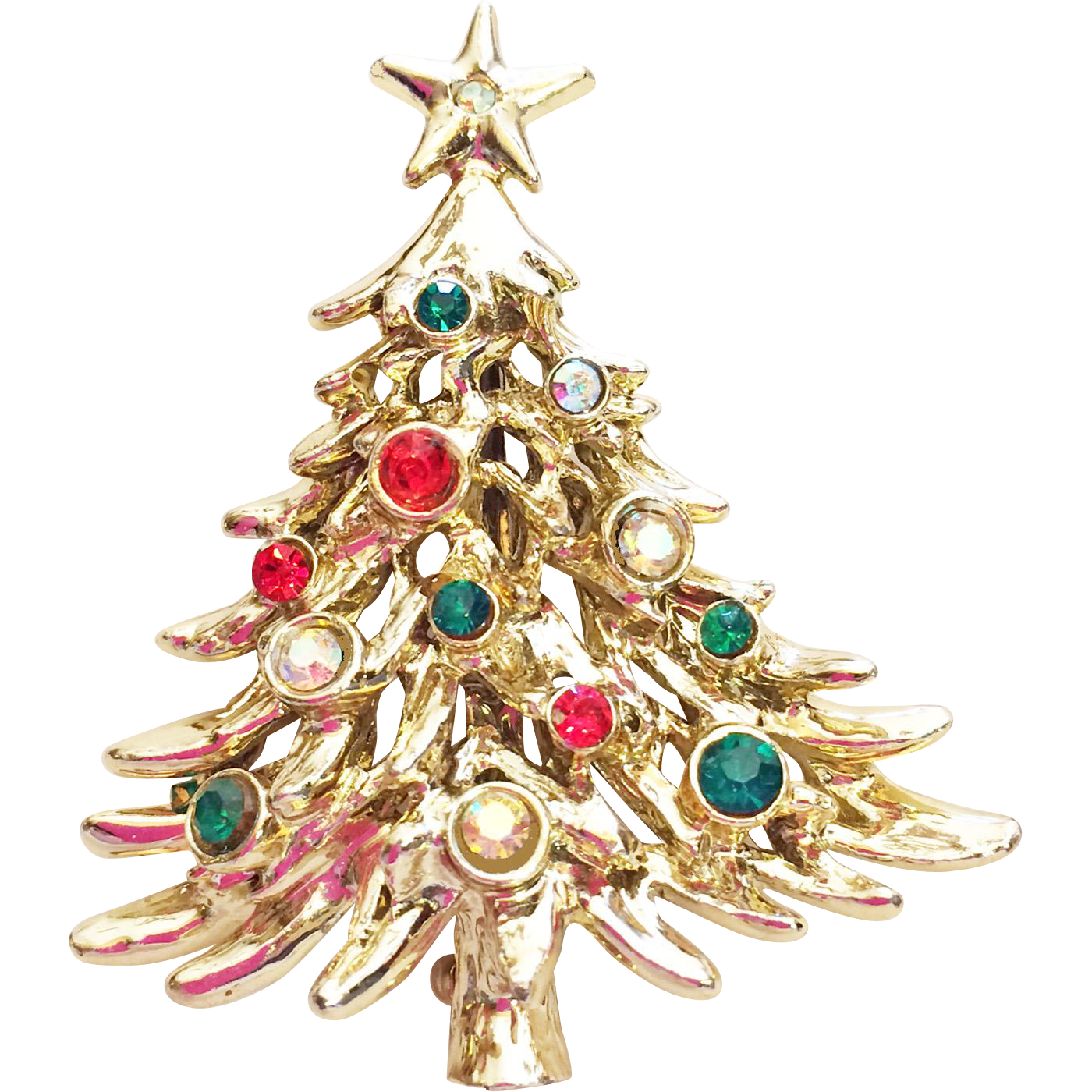 Rare tancer ii signed rhinestone christmas tree pin brooch for Best place to sell gold jewelry in chicago