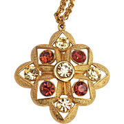 Sarah Coventry Rhinestone Pendant Necklace Gold Tone