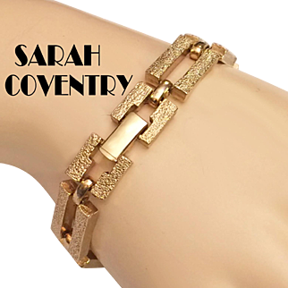 Sarah Coventry Modernist Gold Tone Link Bracelet Chunky
