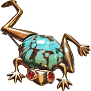 Sterling Gold Plated Frog Pin Brooch - Brunialti Book Piece!