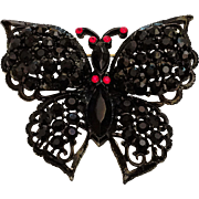 Weiss Signed Butterfly Pin Brooch Jet Black Rhinestones Black Japanned