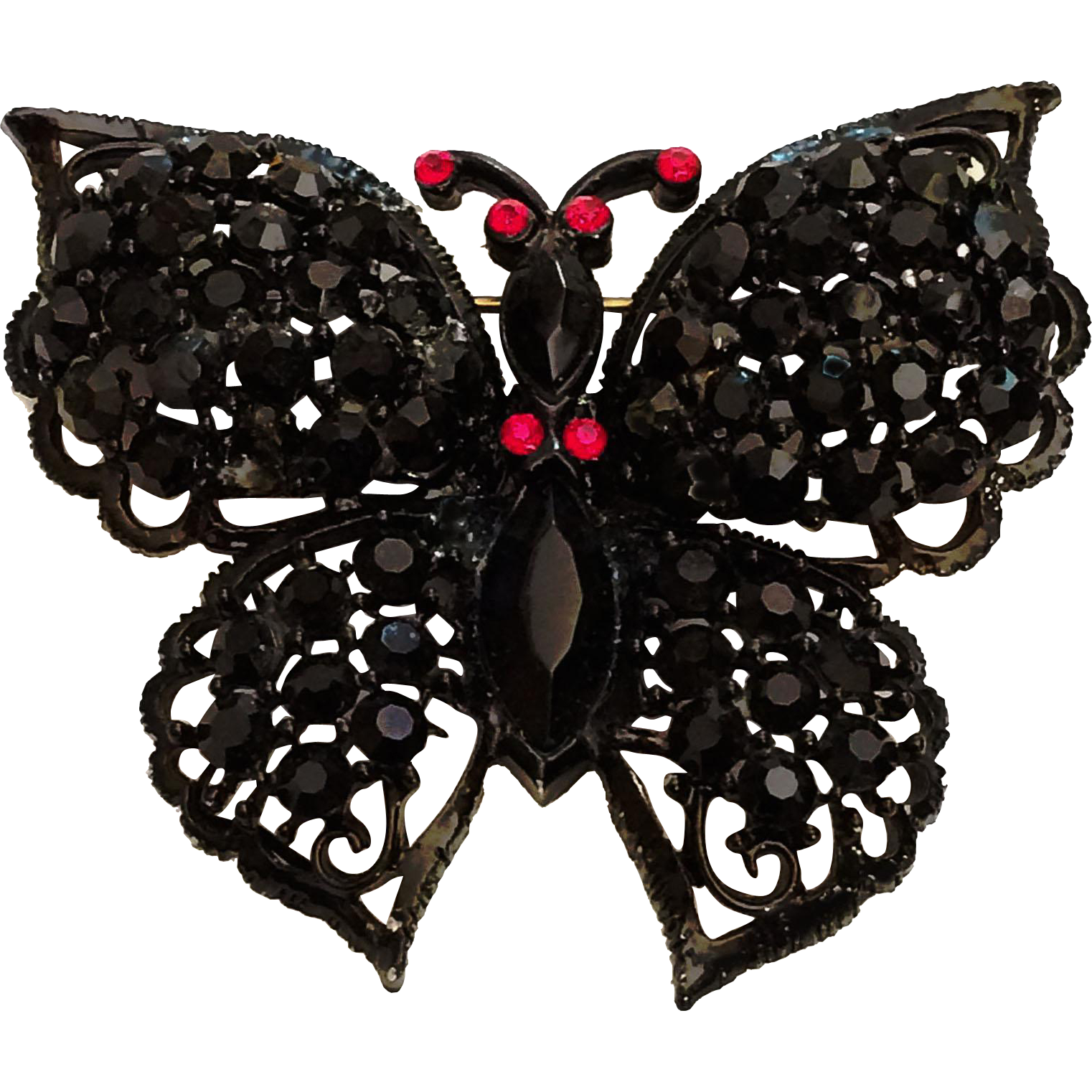 Weiss Signed Butterfly Pin Brooch Jet Black Rhinestones Black Japanned