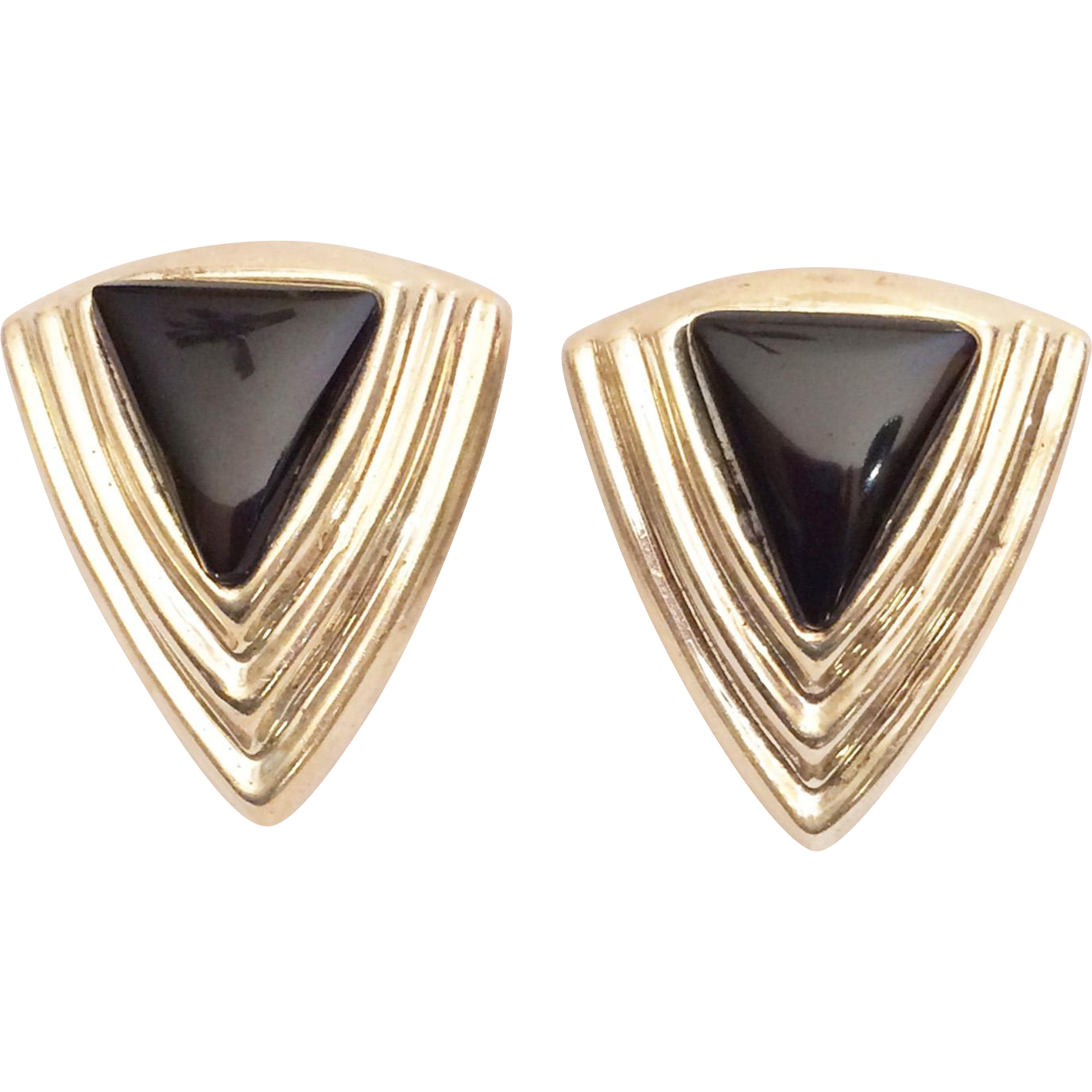 Mexican Sterling Silver Black Onyx Trianglular Clip Earrings