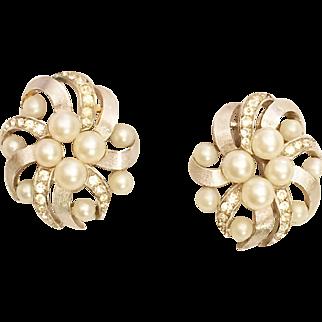 Trifari Earrings Simulated Pearl Rhinestones & Silver Tone