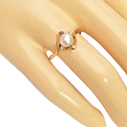 10K Yellow Gold Pearl Diamond Ring Size 8.5 Estate